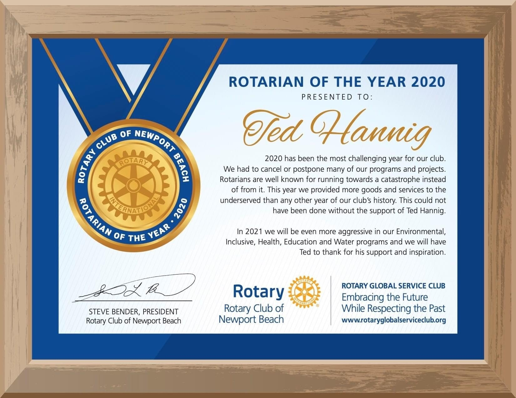 Rotarian of the Year 2020